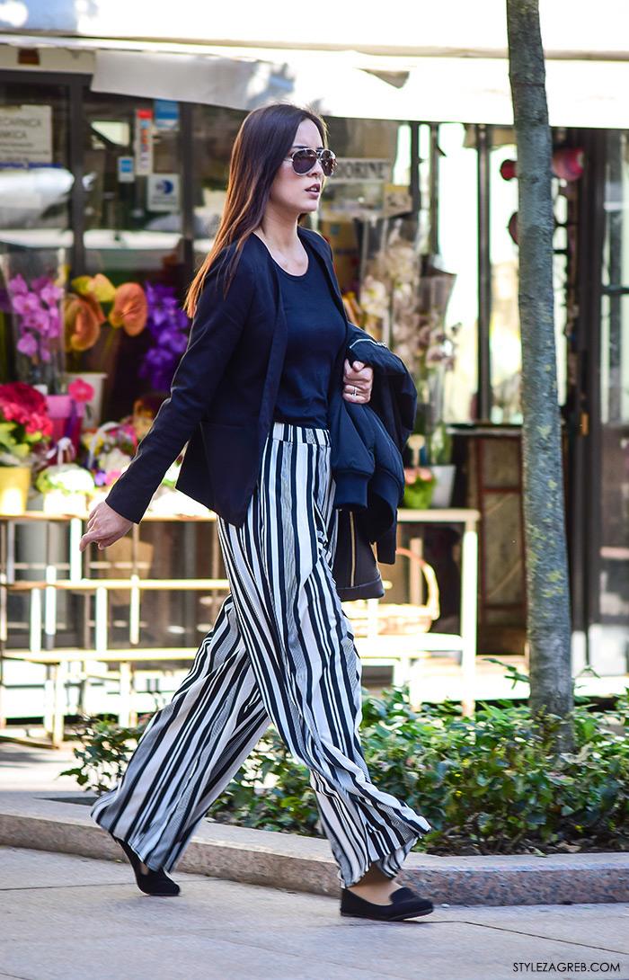Poslovna moda 2016 jesen žena savjeti kako Zagreb street style ulična moda kombinacije poslovni look outfit styling, prugaste široke hlače, balerinke