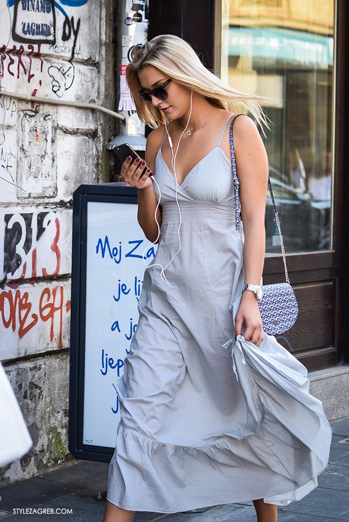 Street style Zagreb ulična moda rujan 2016 kraj ljeta, ljetna maksi haljina