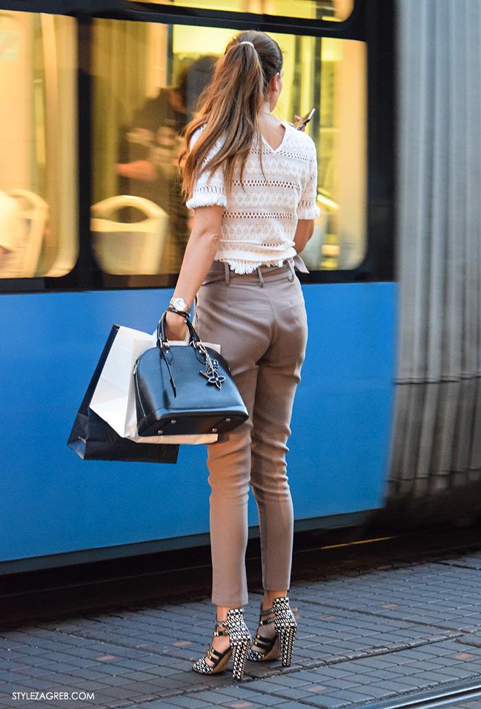 Street style Zagreb ulična moda rujan 2016 kraj ljeta, safari hlače i sandale na visoku petu sa zakovicama