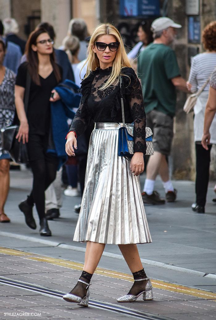 plisirane suknje zima 2016, Odvjetnica Ana Olivari Pavličić kupiti metalik plisirane suknje srebrne šljokičaste cipele Mary Jane, dizajnerska torbica Gucci moda 2016 jesen street style zagreb