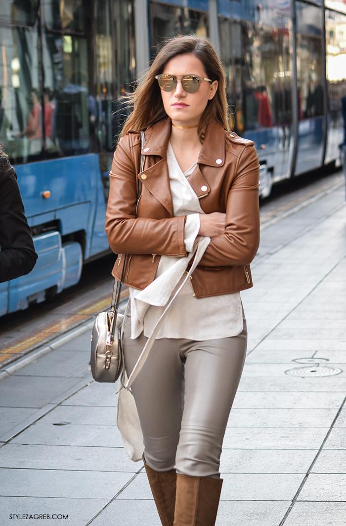 Ivana Jerković, Street style Zagreb, moda zima 2016. kako nositi choker, kombinacija kožna konjak kratka bajkerska jakna Zara Ilica, kožne hlače, zlatni choker