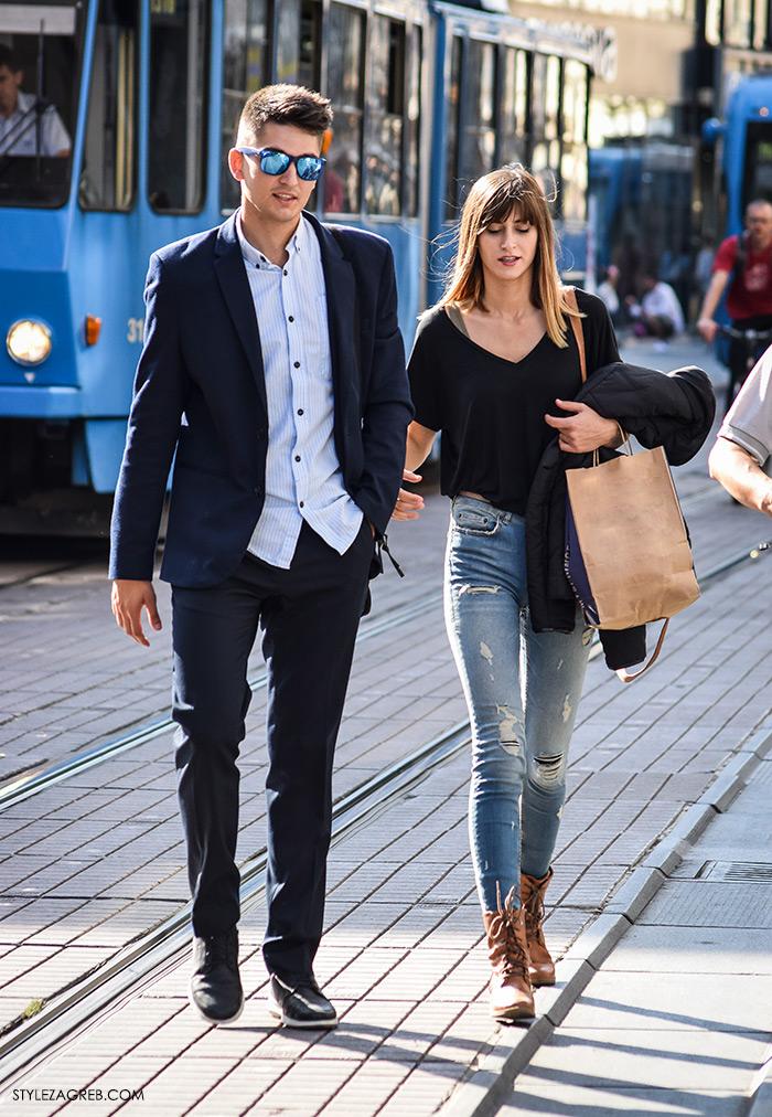 Par ženska muška moda jesen 2016 street style Zagreb ulična moda modna kombinacija crni top i poderane traperice, sako i plava košulja
