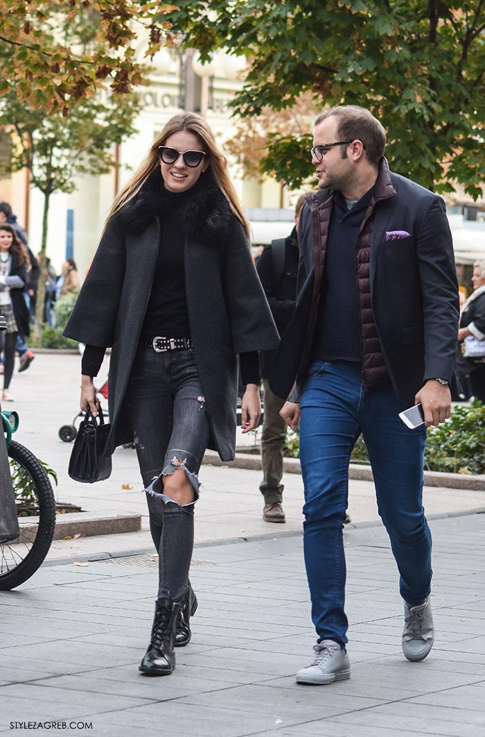 Par ženska muška moda jesen 2016 street style Zagreb ulična moda modna kombinacija sivi kaputić i poderane traperice, Marija Maretić