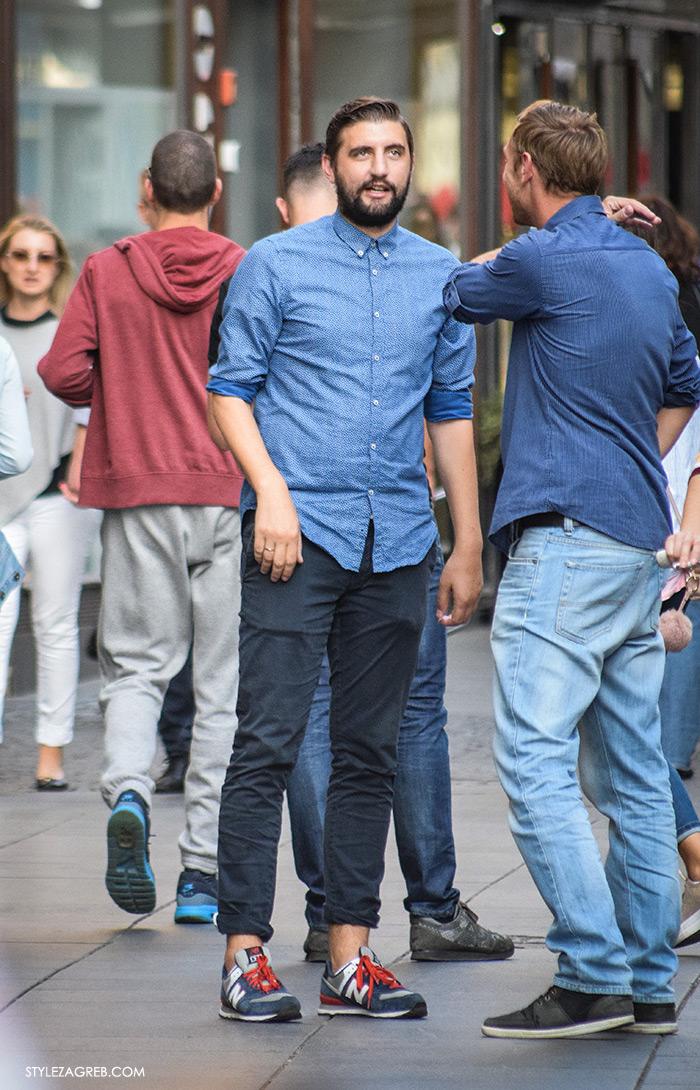 Street style Zagreb jesen 2016 muška moda, new balance tenisice, podvrnute hlače i traper košulja