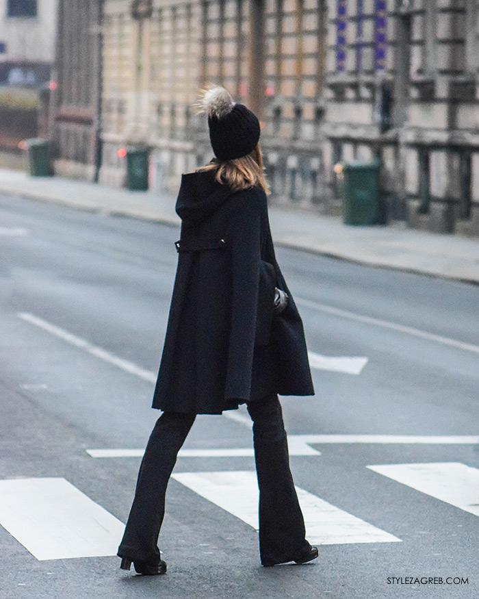 Style Zagreb Advent u Zagrebu špica ulična moda street style subota kombinacija crna pelerina, crna kapa s coflekom i trapez crne hlače