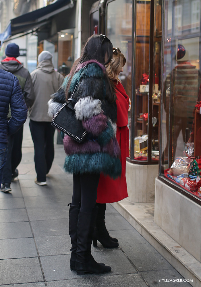Style Zagreb street style zimska ulična moda, bundica gdje kupiti, faux fur coat where to buy how to wear