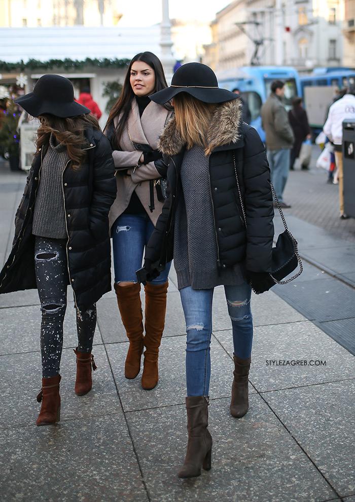 Style Zagreb gdje kupiti šešir široki obod, zenske poderane traperice Zara tri frendice ulična moda najnovije fotke, womens street style winter fashion girl squad