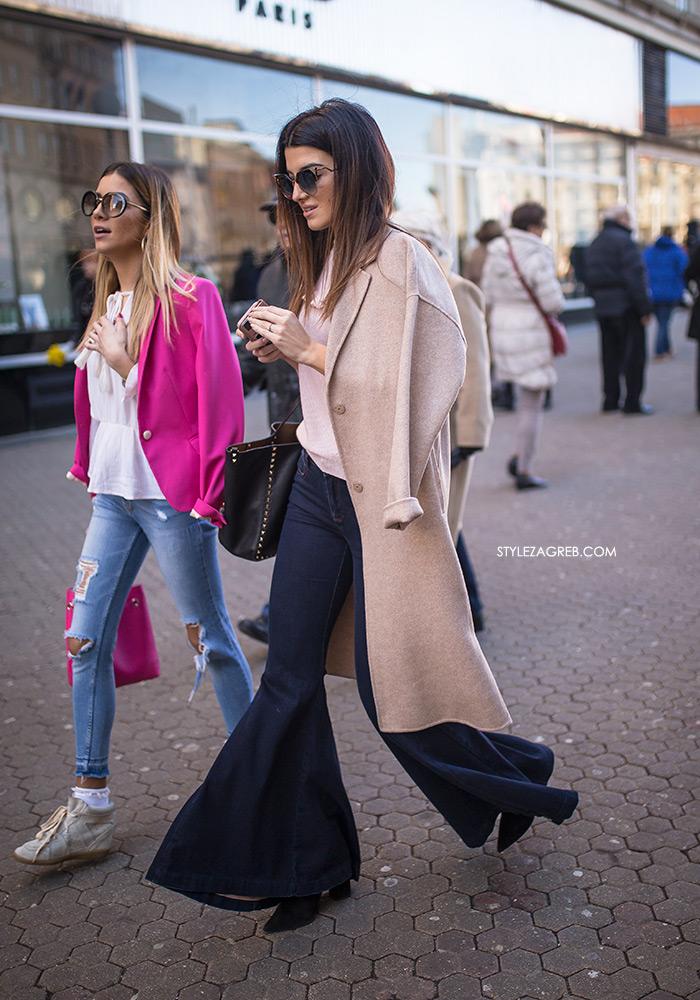 Najmodernija cura na špici slika Style Zagreb ženski kaput, trapez hlače, street style Zagreb ulična moda kako nositi trapezice Severina kave se traperice sada nose women's fashion jeans