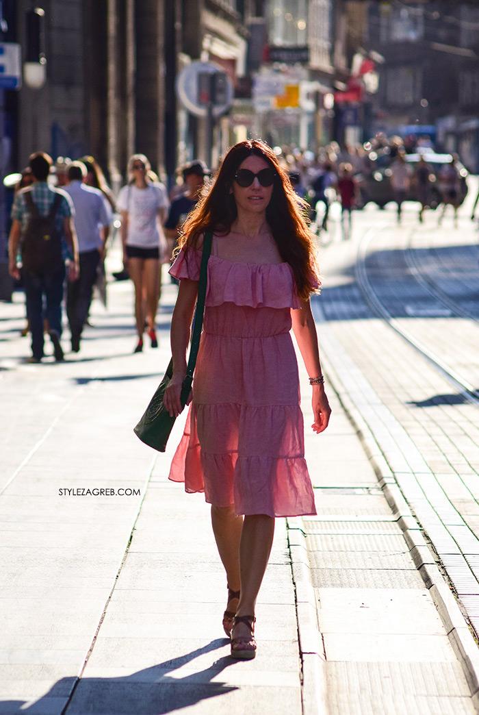 Haljina od lana u puderastoj boji - Pink Coquette