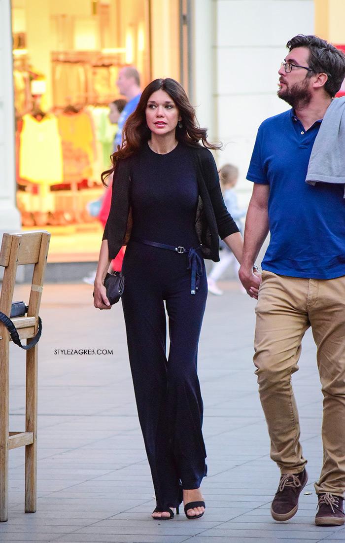 crni kombinezon žena sa stilom Zagreb street style ljetna moda srpanj 2017.