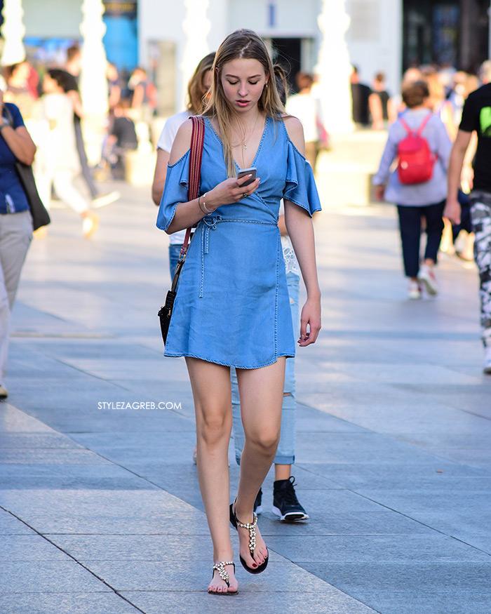 Street Style Zagreb Ljetni Traper Raport street style 2017 lijepa djevojka traper haljina otvorenih ramena