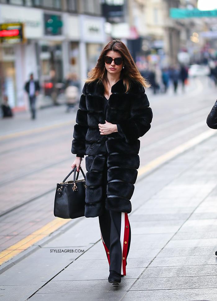 Crna bundica, Zara trenirka crne hlače Bundice street style Zagreb Instagram ulična moda ženska zimska moda fotke