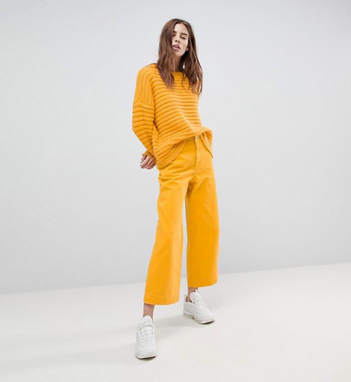 Traperice trendovi 2018. Kako nositi trapezice, podvrnute nogavice, traperice u boji, široke traperice sa suženim rubom nogavica