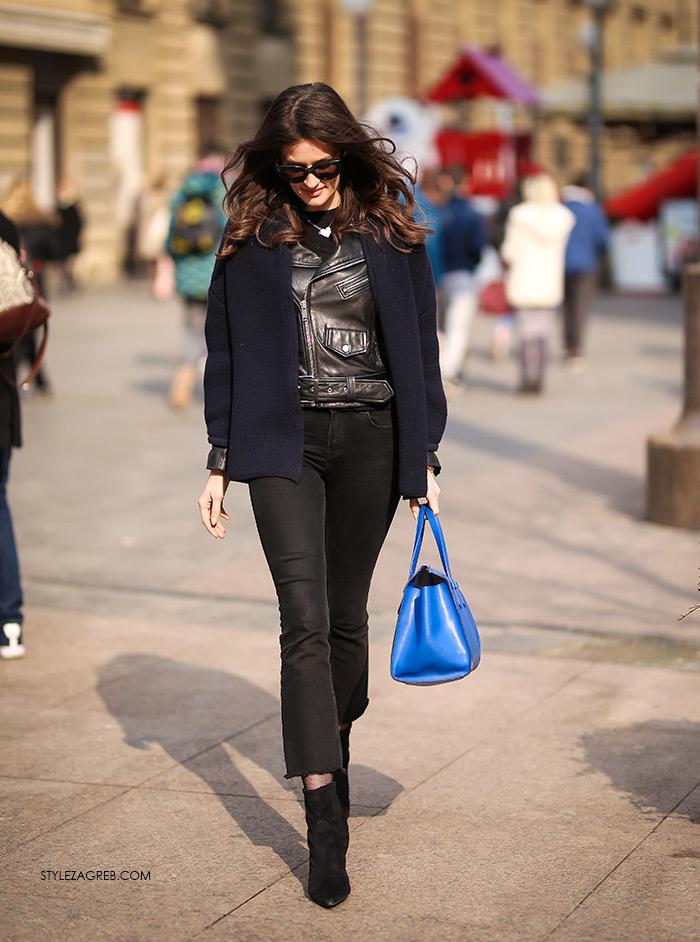 Bankarica Zrinka Barkiđija u bajkerskoj jakni | Style Zagreb street style zagreb styling ideje