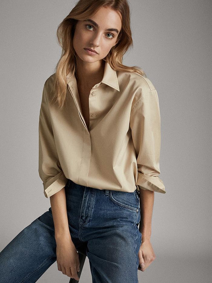 massimo dutti što odjenuti na posao style zagreb pamučna šira košulja u bež boji