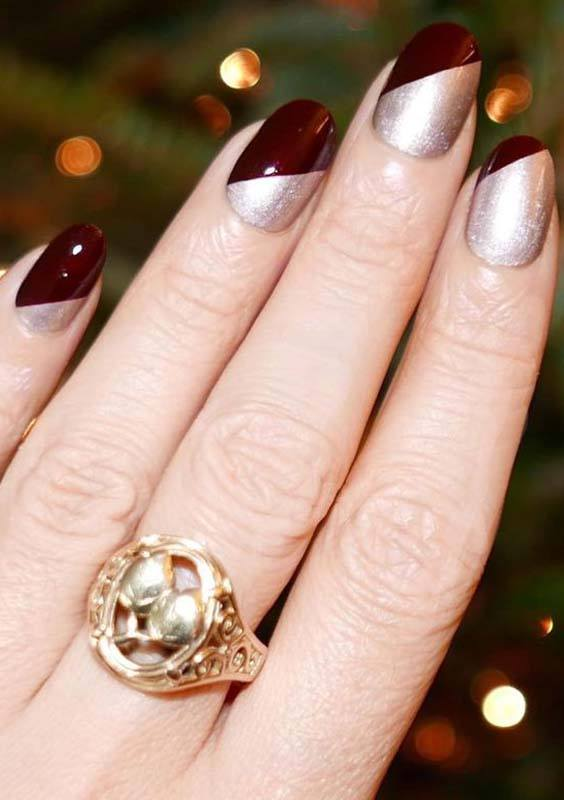 Burgundy and Bright Silver Nail Designs