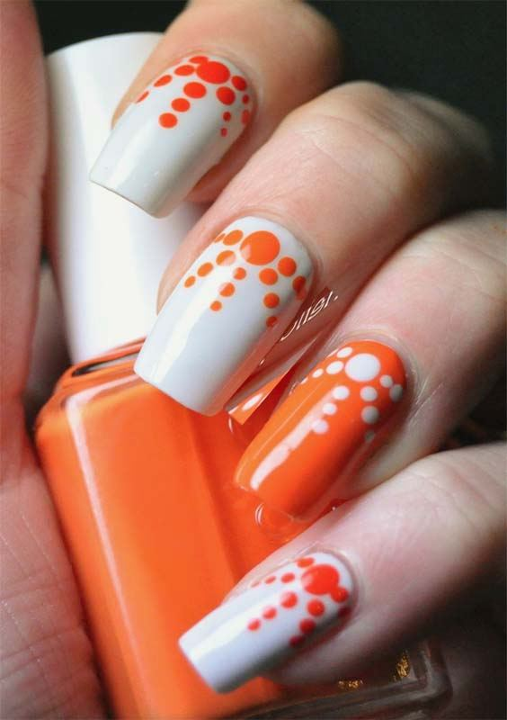 White and Orange Nail Arts and Designs