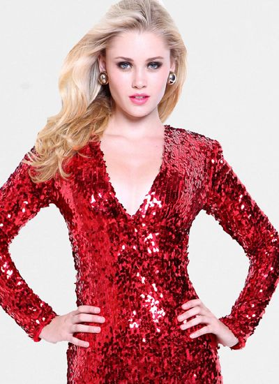 prom Long V neck with Sequins