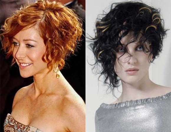 Asymmetrical bob short curly hairstyles