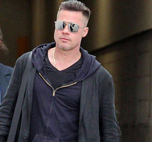 Brad Pitt Hairstyle 2016 with Buzzed Sides