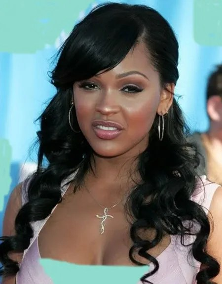 Weave Hairstyles with Side Swept Bangs