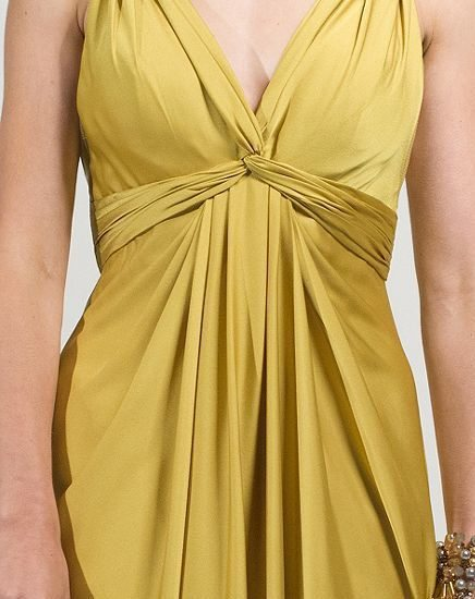 aftershock gold dress with V neck