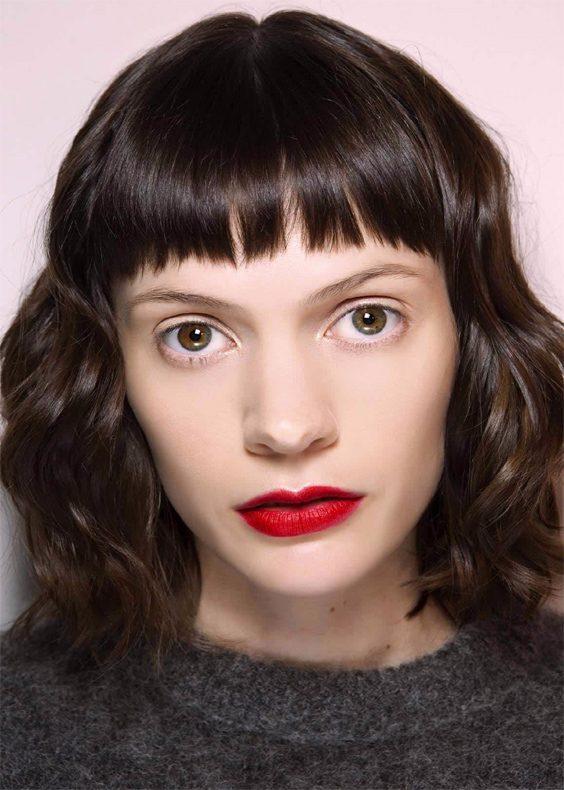 Fall-autumn brunette short fringe curly bob hair 2017
