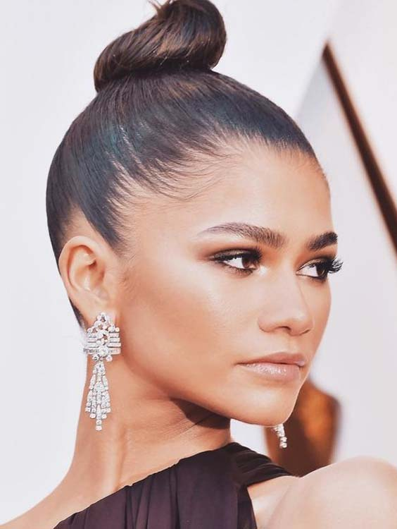Celebrity Bun and Updo Hairstyles for 2018