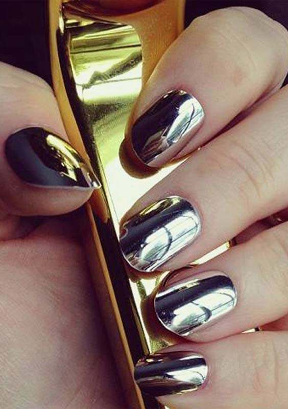 Silver Mirror Nail Polish and Nail Arts
