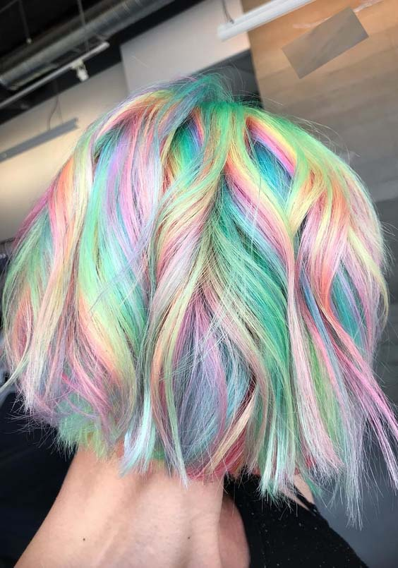 Awesome Rainbow Hair Colors For Short Haircuts In 2018