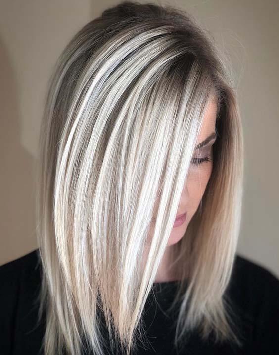 Natural Icy Blonde Hair Colors For Medium length Hair | Stylezco