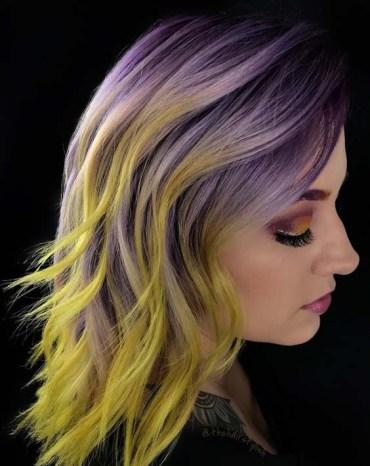 Purple To Yellow Hair Color Ideas For Medium Hair