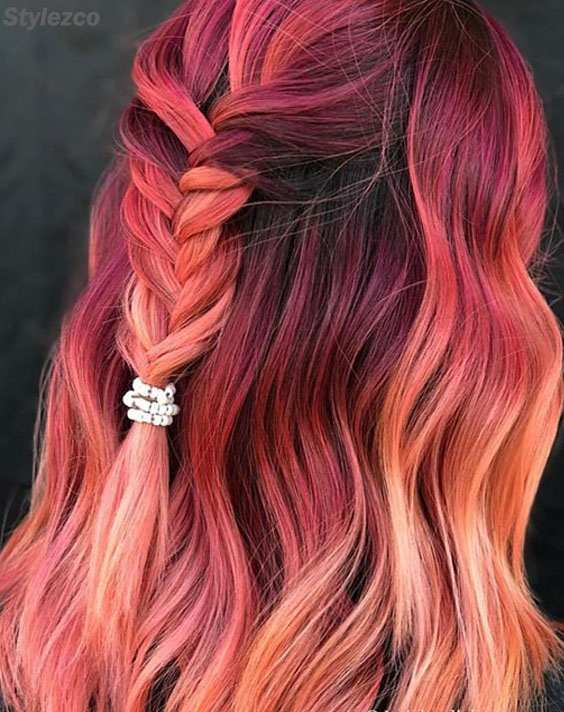 Super Cute Look of Pink Braids Ponytail Hairstyle Trends for 2018