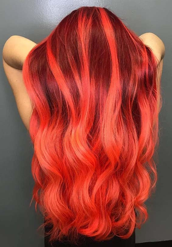 Fiery Red Hair Color Shades for Long Hair in 2018
