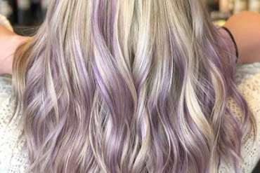 Lilac & Platinum Balayage Hair Color Highlights for 2019