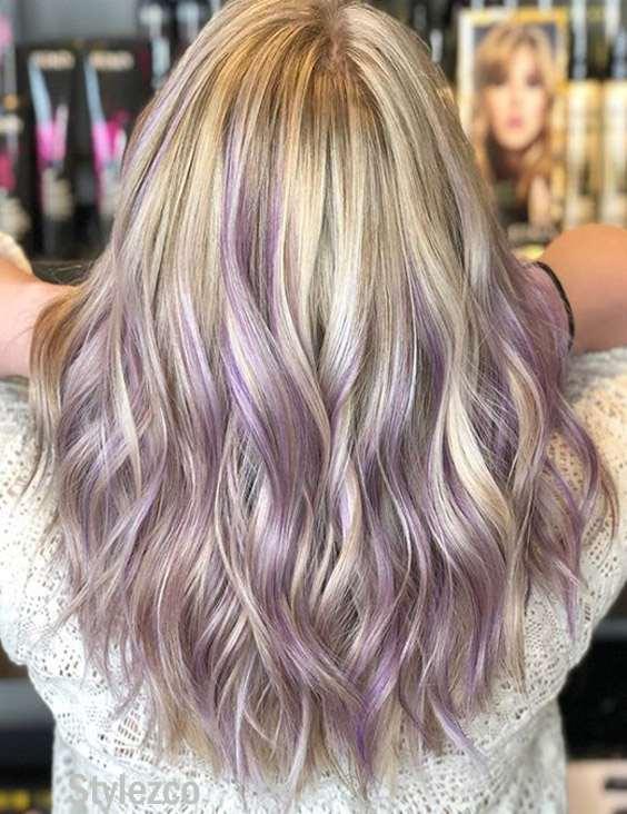 Lilac & Platinum Balayage Hair Color Highlights for 2019