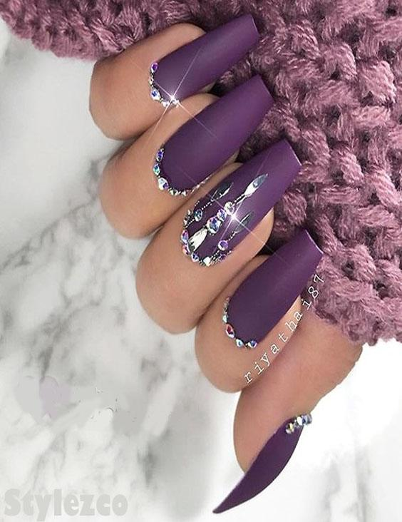 Matte Purple Nail Art Style with Crystals for Stylish Girls In 2018-2019