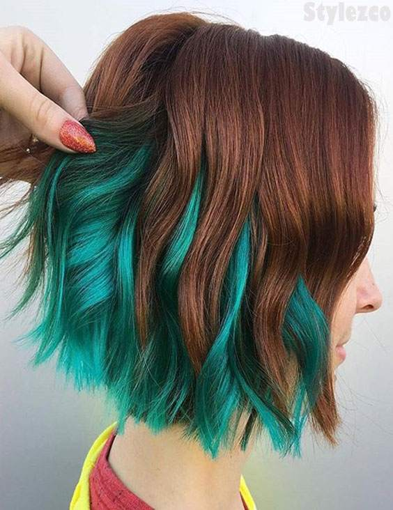 Brown & Green Hair Color Combinations for 2018-2019