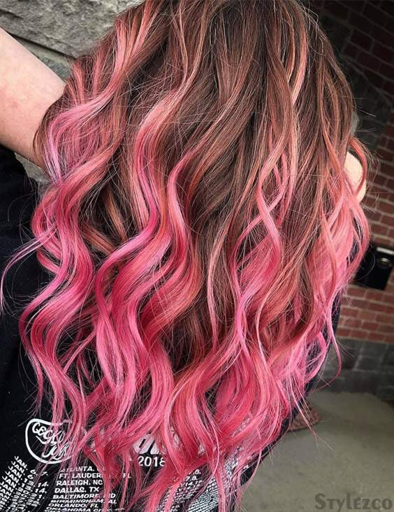 Pink & Brown Hair Color Combination To wear Right Now