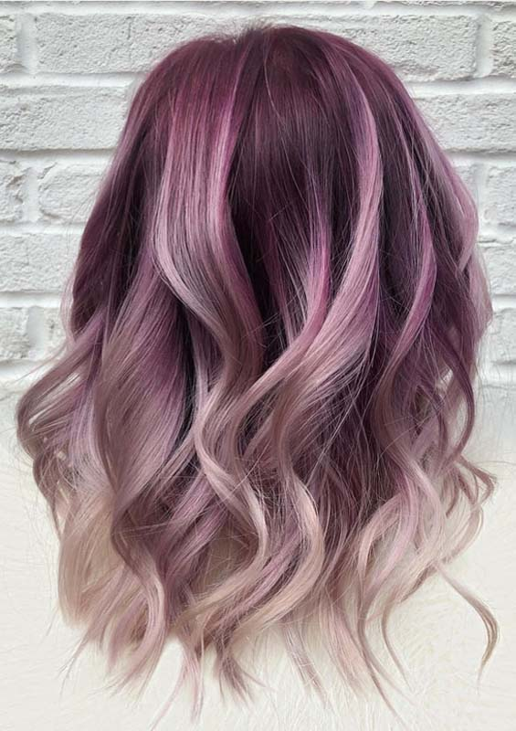 Wonderful Purple Hair Color Shades With Blond Highlights