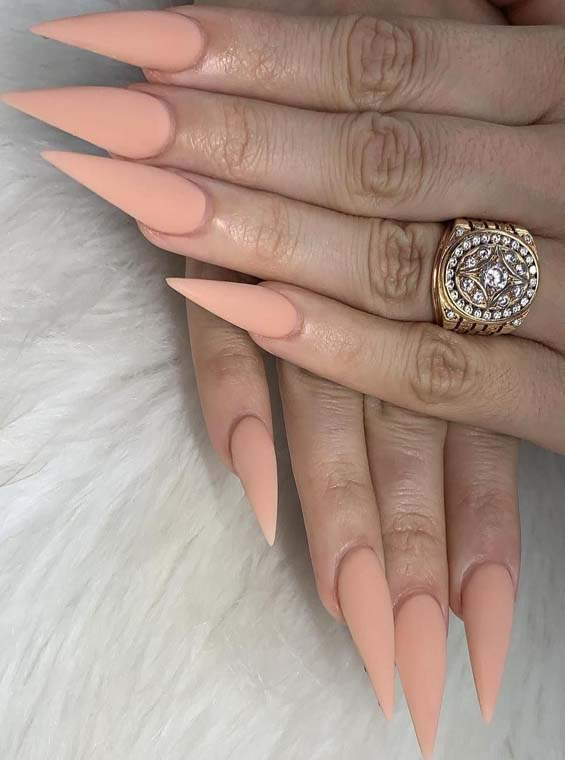 Gorgeous Almond Shape Long Nail Arts With Peach Nail Polish in 2019