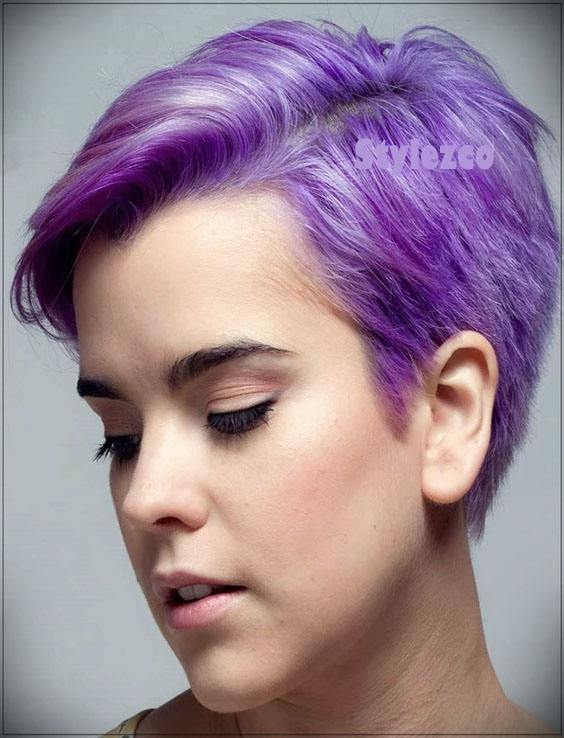 Lovely Purple Short Haircut Hairstyles For Girls In 2019 Stylezco