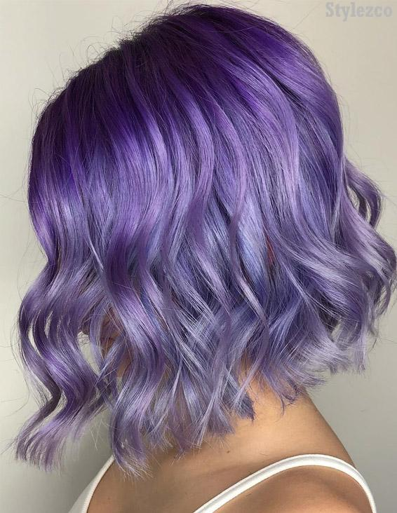 Adorable Purple Hair Color Ideas for Short Hair In 2019