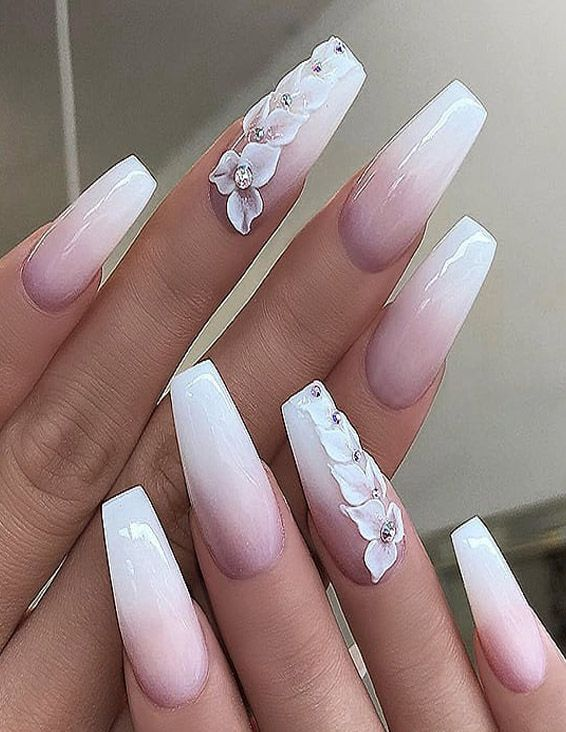 fresh & easy white long nail art