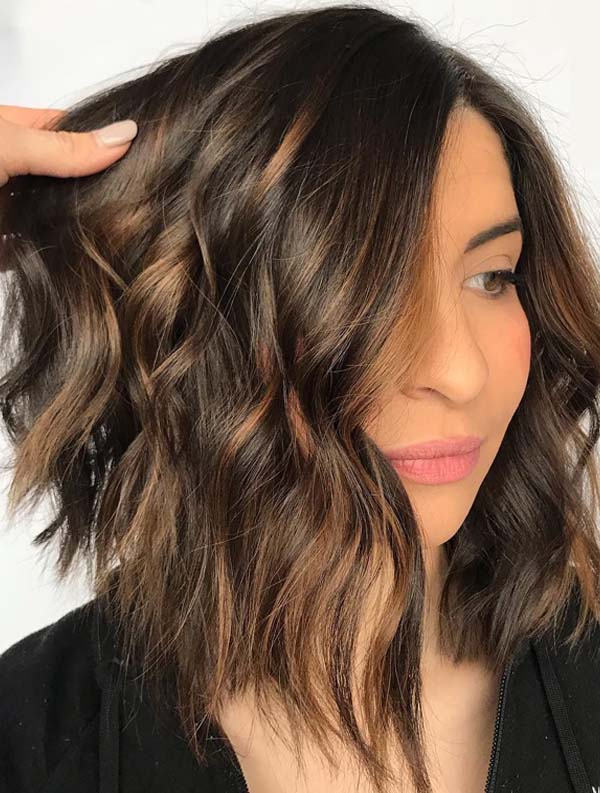 Silky Chocolate with Caramel Angled Bob Cuts in 2019