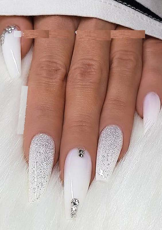 Gorgeous White Glitter Amp Crystals On Long Coffin Nails For