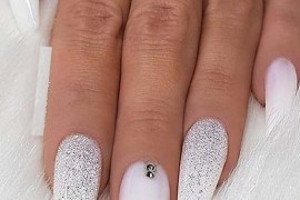 White Glitter & Crystals on long Coffin Nails for 2019