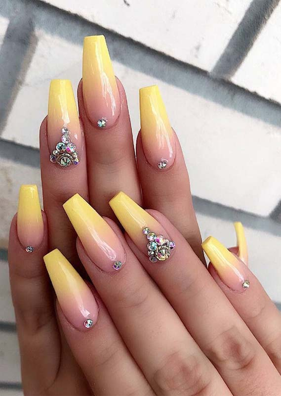 Superb Shiny Yellow Nail Arts Designs for Bold Women in 2019 | Stylezco