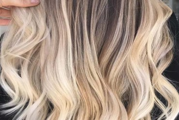 Bright creamy textured blonde balayage hair color shades in 2019