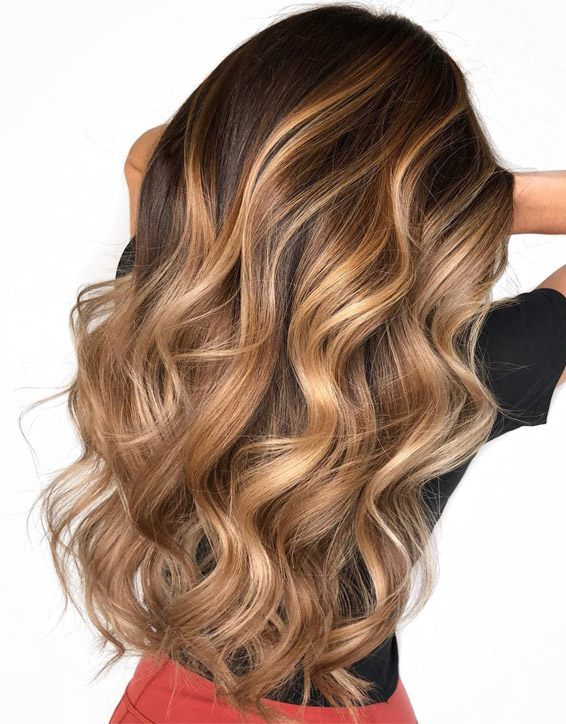 Long Blonde Hairstyles with Brown Highlights for 2019